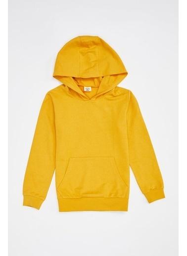 DeFacto Erkek Çocuk Basic Kapüşonlu Sweatshirt Sarı
